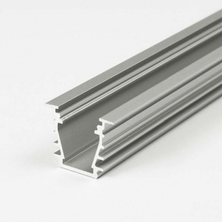 Einbauprofil tief/schräg 200cm Alu-eloxiert ohne Abdeckung für LED-Strips