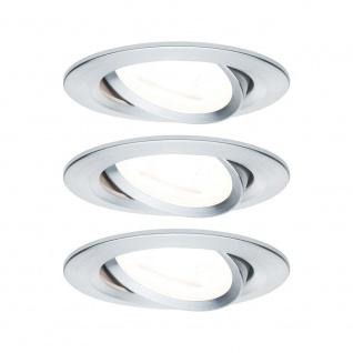 Paulmann Einbauleuchten-Set Nova rund schwenkbar LED 3x6, 5W 2700K 230V GU10 51mm Alu ged/Alu Zink 93433