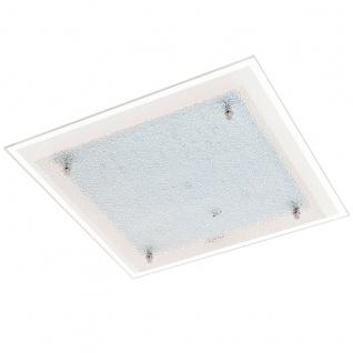Eglo 94447 Priola LED Wand & Deckenleuchte 16 W Stahl Weiß Chrom Glas mit Struktur Weiß