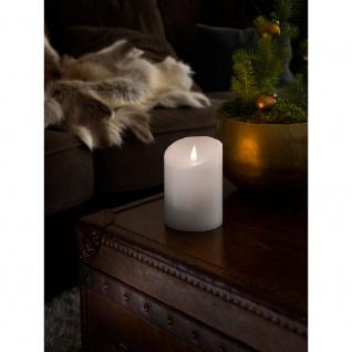 LED Echtwachskerze weiß mit 3D Flamme Ø 10cm Höhe: 14cm Timer Warmweiße Dioden batteriebetrieben für Innen