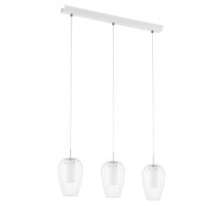 Eglo 94339 Vencino LED Hängeleuchte 3 x 6 W Stahl Weiss Chrom Glas satiniert Weiss lackiert
