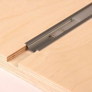 2m Einbau-Aluprofil-Set für LED-Strips Abdeckung matt Alu natureloxiert