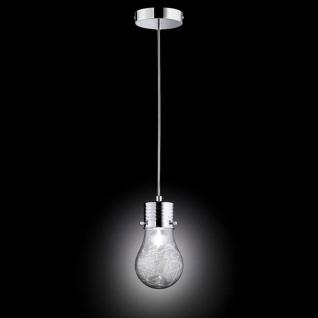 Wofi FUTURA Pendelleuchte in Glühlampenform Ø12cm 1-flg. Chrom Pendellampe