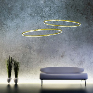 s.LUCE pro LED-Hängelampe Ring XL Ø 100cm Dimmbar Gold Wohnzimmer Ring Hängelampe