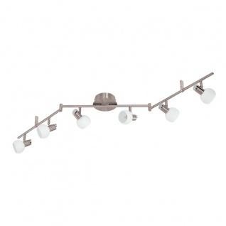 Eglo 94276 Sesto 2 LED Spot 6 x 33 W Stahl Nickel-Matt Chrom Glas satiniert Weiss lackiert