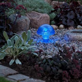 Assisi Pilz Solar LED Leuchte blau Solar Gartenlampe Gartenleuchte