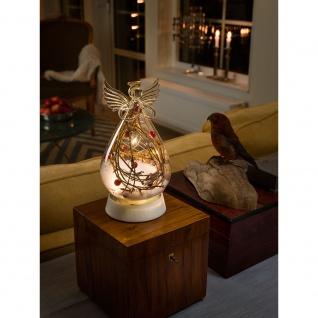 LED Glasfigur Engel klar groß mit 3 Funktionen Timer 4 Warmweiße Diode batteriebetrieben für Innen