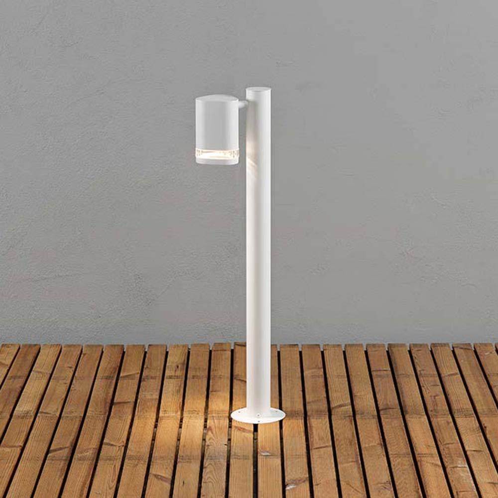 Konstsmide 7517-250 Modena Wegeleuchte mit Pfahl Weiß klares Acrylglas Reflektor