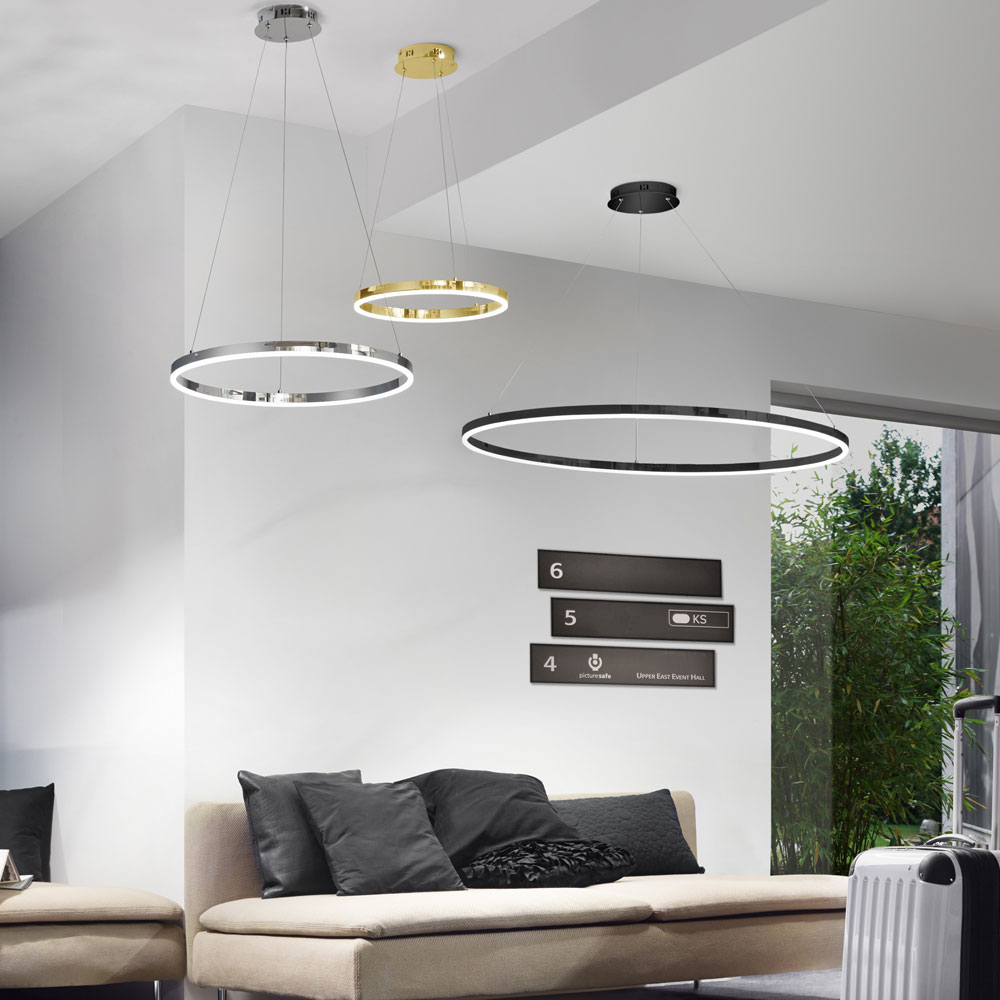 s luce ring m led h ngeleuchte 60cm dimmbar gold wohnzimmer h ngelampe ringleuchte kaufen. Black Bedroom Furniture Sets. Home Design Ideas