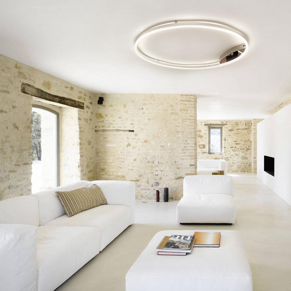 s.LUCE pro LED-Deckenleuchte Ring XL Dimmbar Ø 8cm in Chrom Wohnzimmer  Ring Deckenlampe
