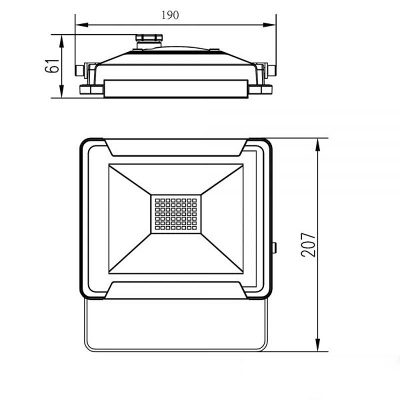 LED LED LED Fluter Warmweiß 30 W 2400lm IP65 Schwarz ce9a45