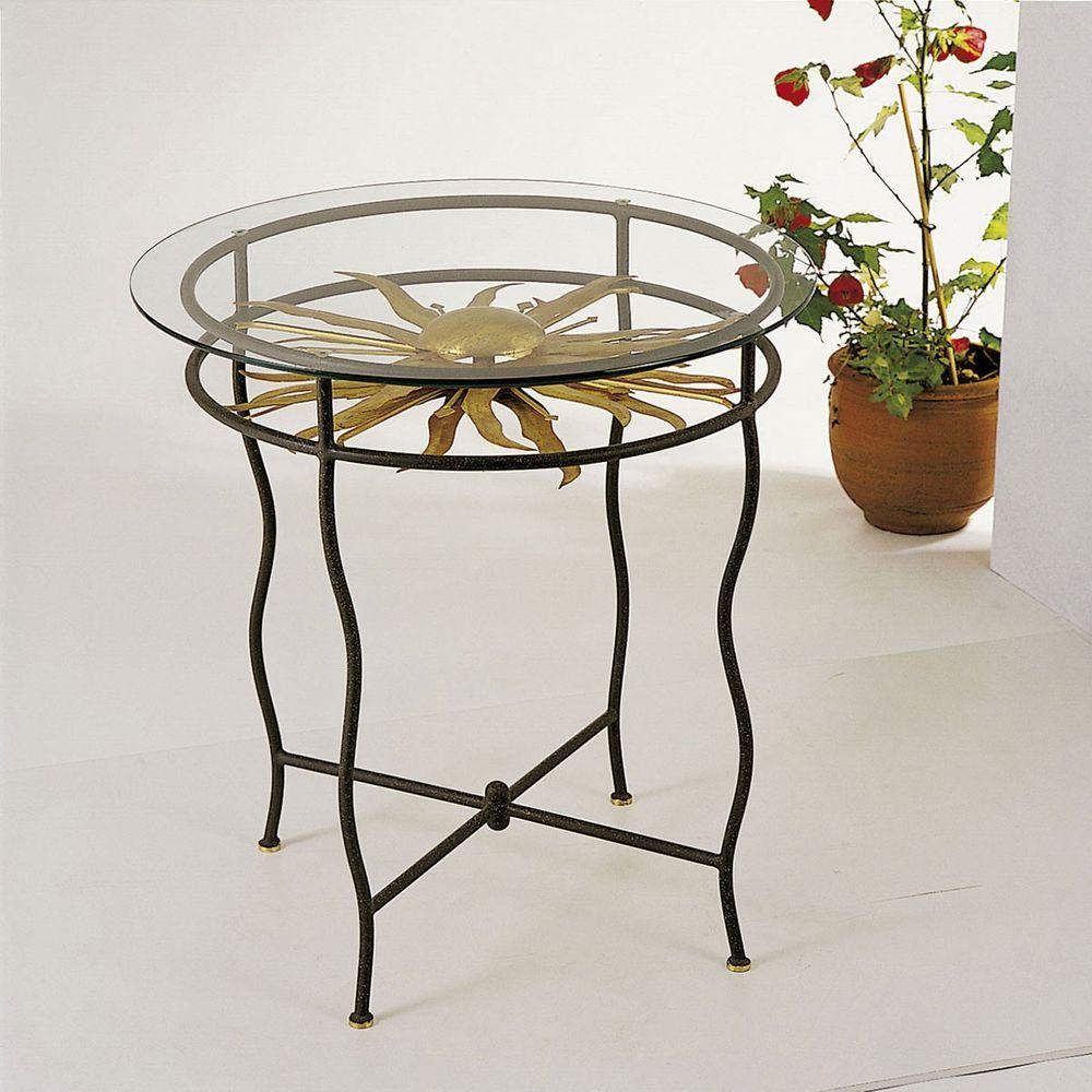 Holländer 300 K 2554 Tisch Tramonto Eisen Glas Braun Schwarz Gold