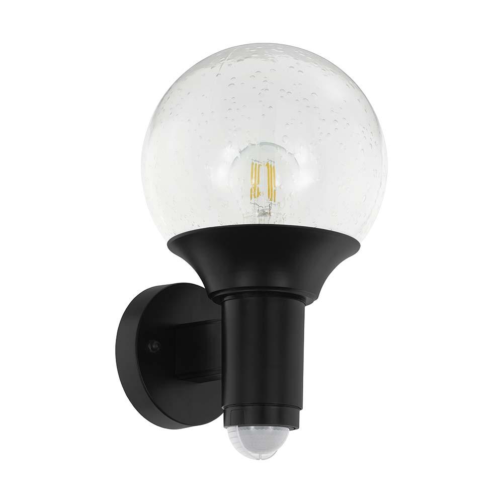 Verlucca Wandleuchte mit Sensor schwarz Glas klar E27