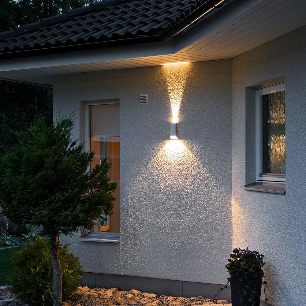 Konstsmide 7911-310 Imola LED Aussen-Wandleuchte mit doppeltem Lichtkegel Grau Grau Grau klares Acrylglas c55b6b