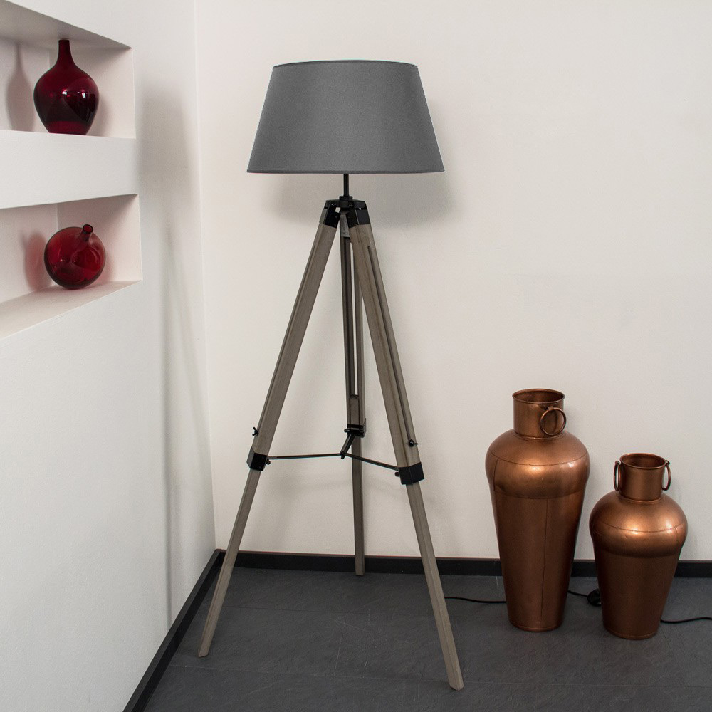 Dreibein Stehlampe 145cm Mit Grauen Holzfuss Textil Grau Dreifuss