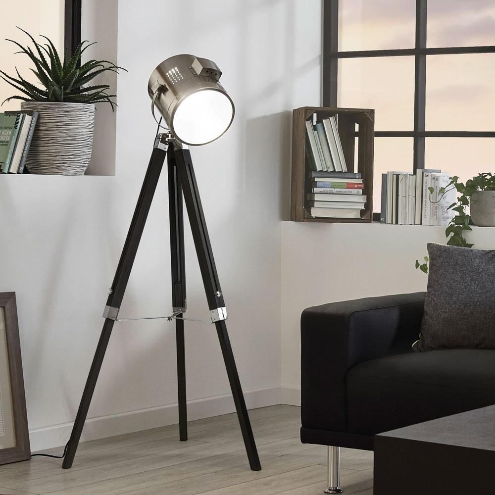 Genial Dreibein Stehlampe Beste Wahl Licht-trend Gazer Dreibein-stehleuchte Holz & Chrom Schwarz