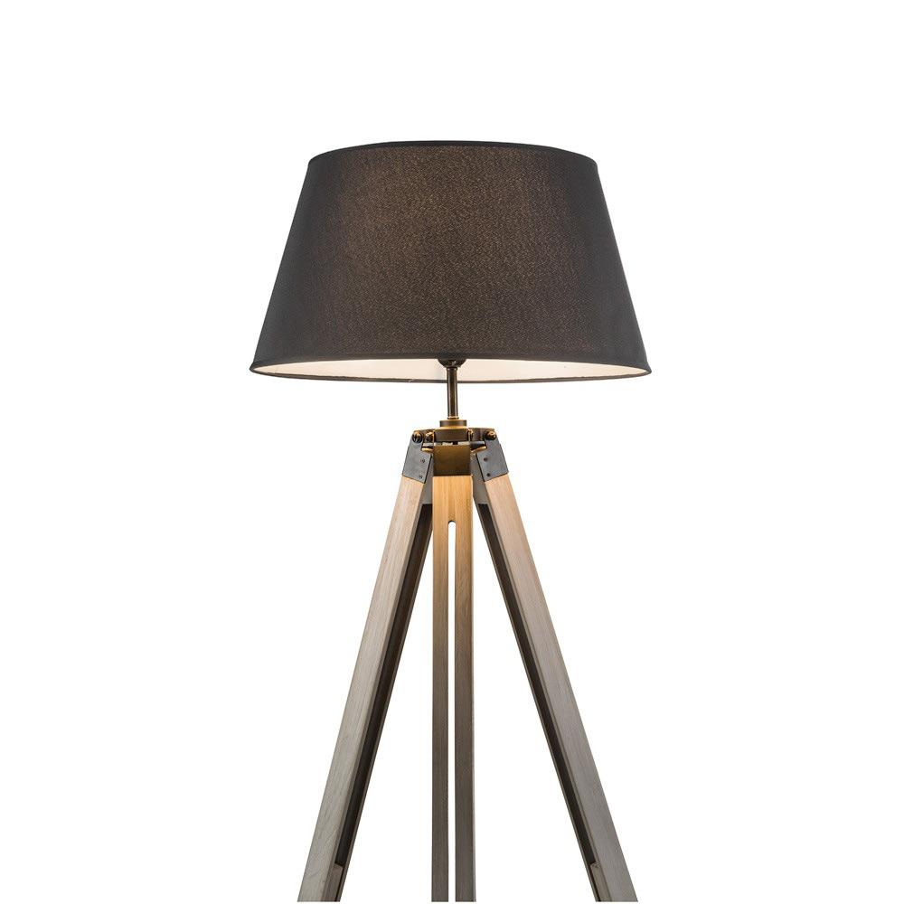 Dreibein Stehlampe 145cm mit grauen Holzfuß & textil grau Dreifuß ...