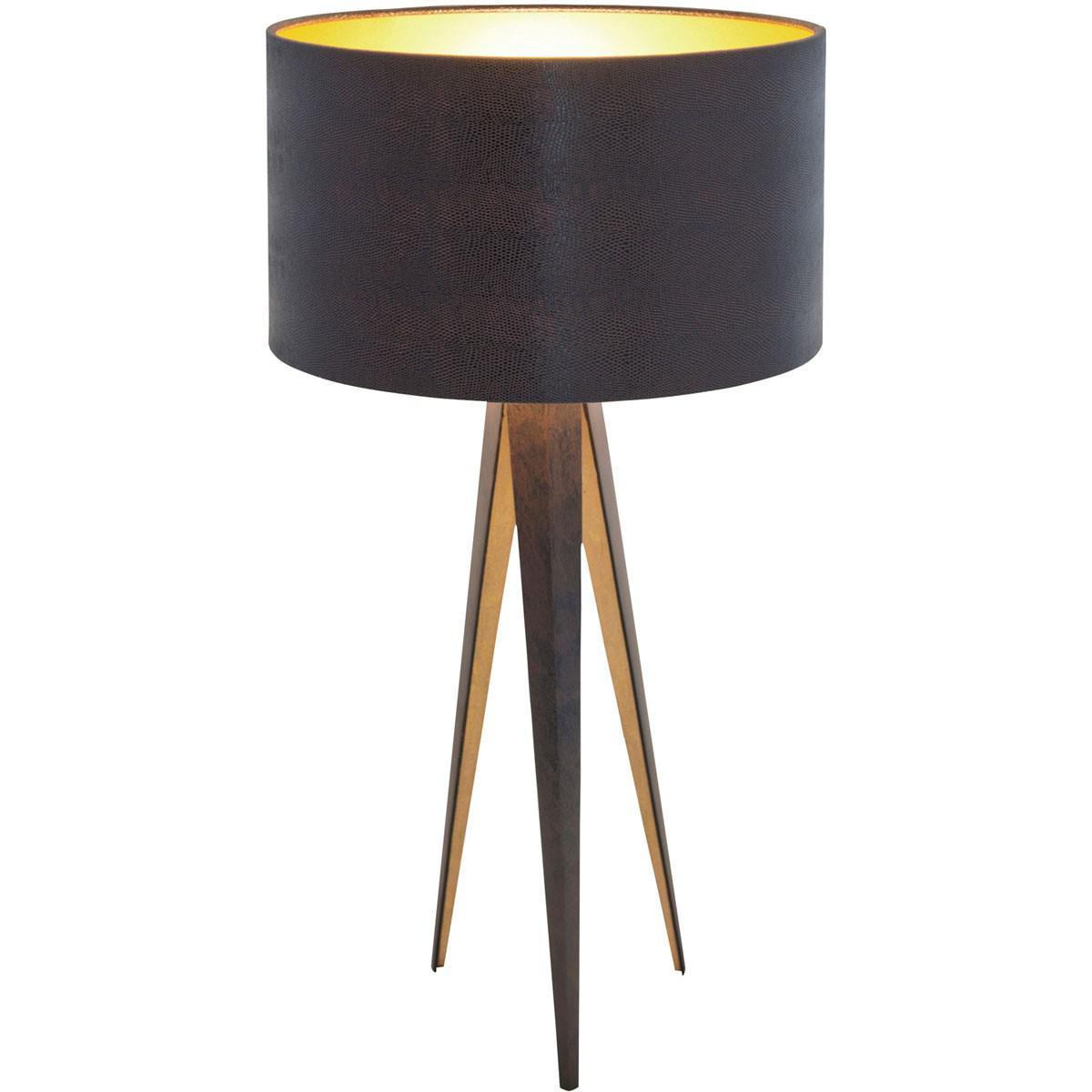 holl nder 300 k 12248 tischleuchte petra eisen braun schwarz gold kaufen bei licht design. Black Bedroom Furniture Sets. Home Design Ideas