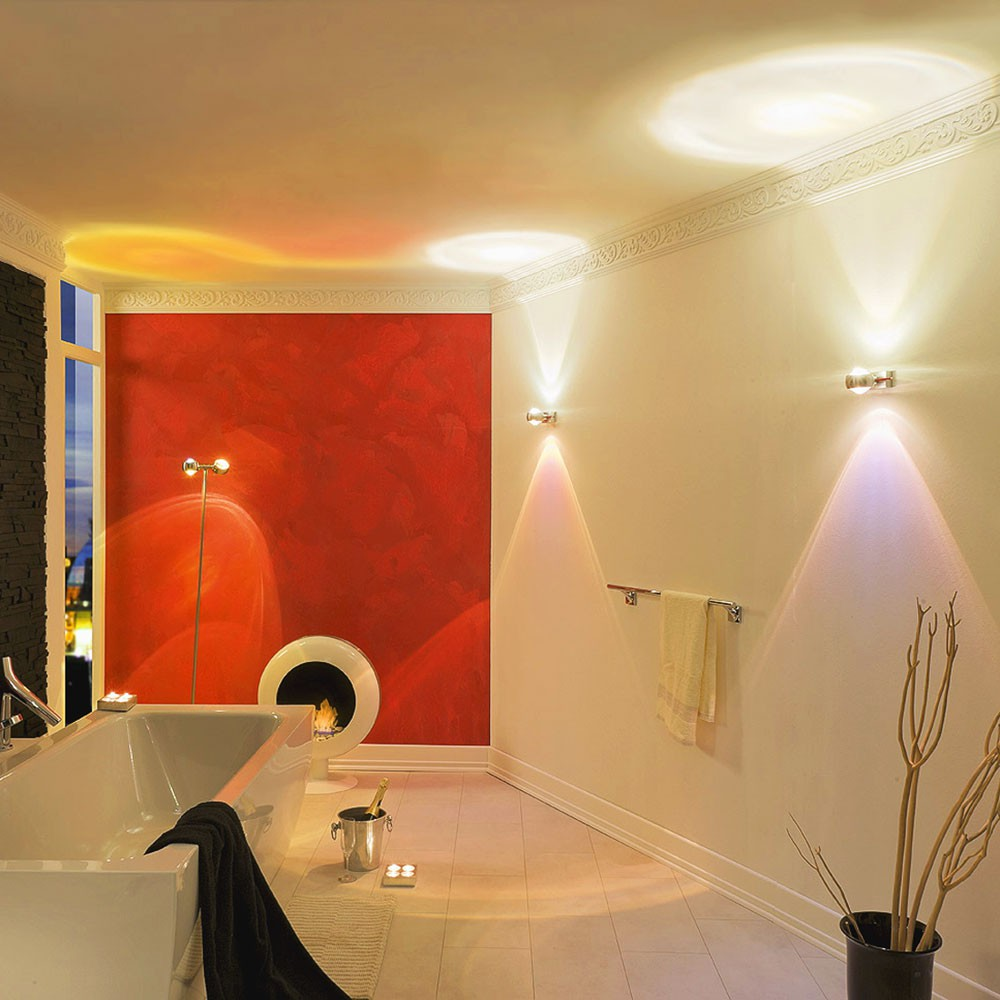 s luce beam wandleuchte up down mit glaslinsen effekt. Black Bedroom Furniture Sets. Home Design Ideas
