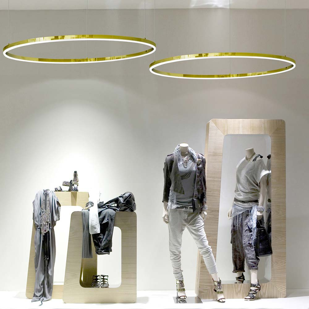 s.LUCE pro LED-Hängelampe Ring XL Ø 100cm Dimmbar Gold ...