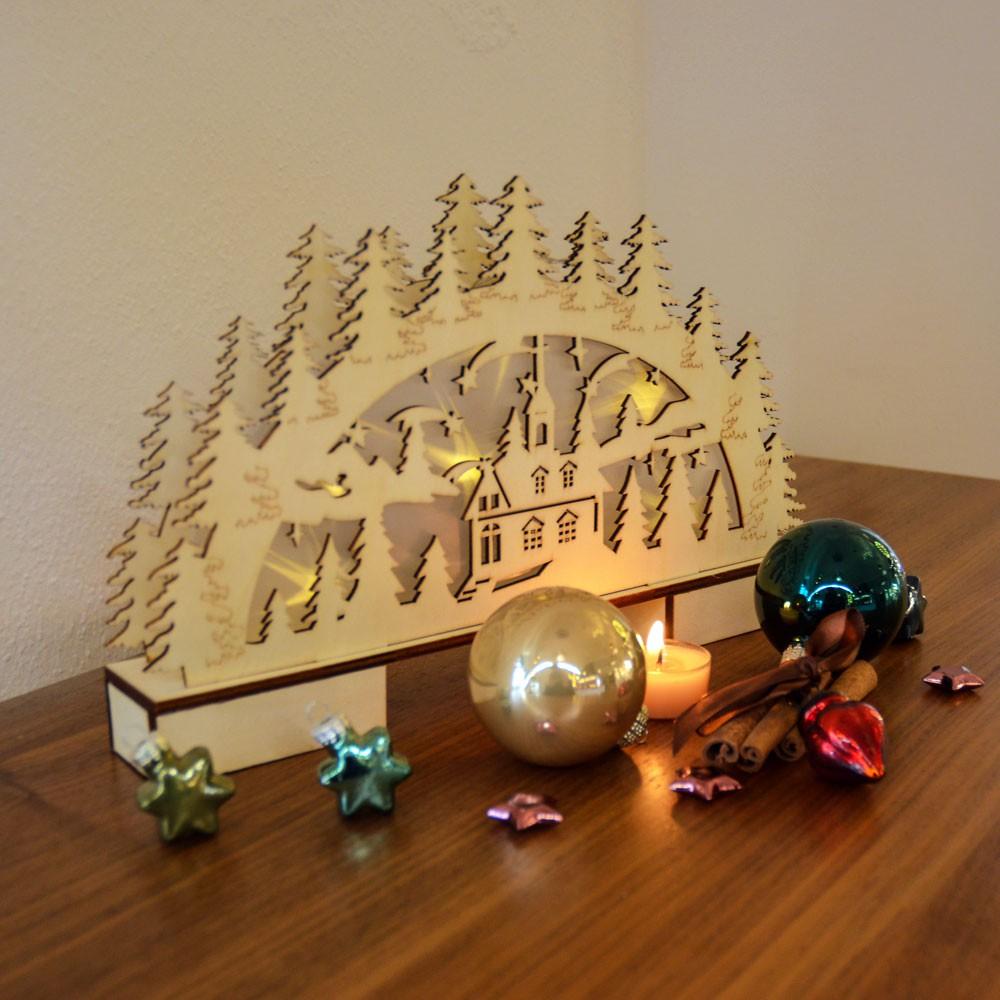 LED Holz-Schwibbogen mit Ornamenten Weihnachtsbogen mit Hologramm ...