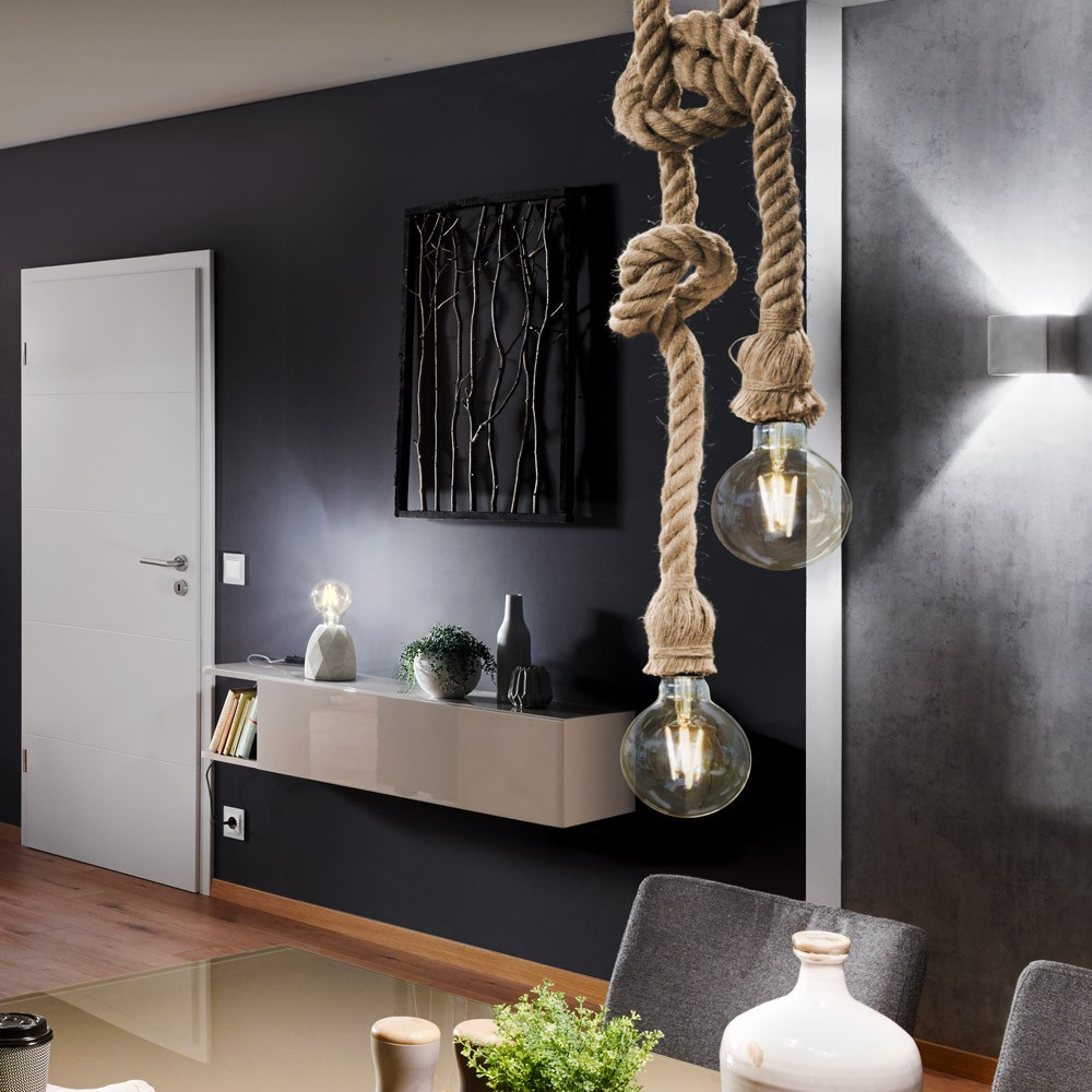 rope seil h ngeleuchte mit 2 fassung 250cm braun seil. Black Bedroom Furniture Sets. Home Design Ideas