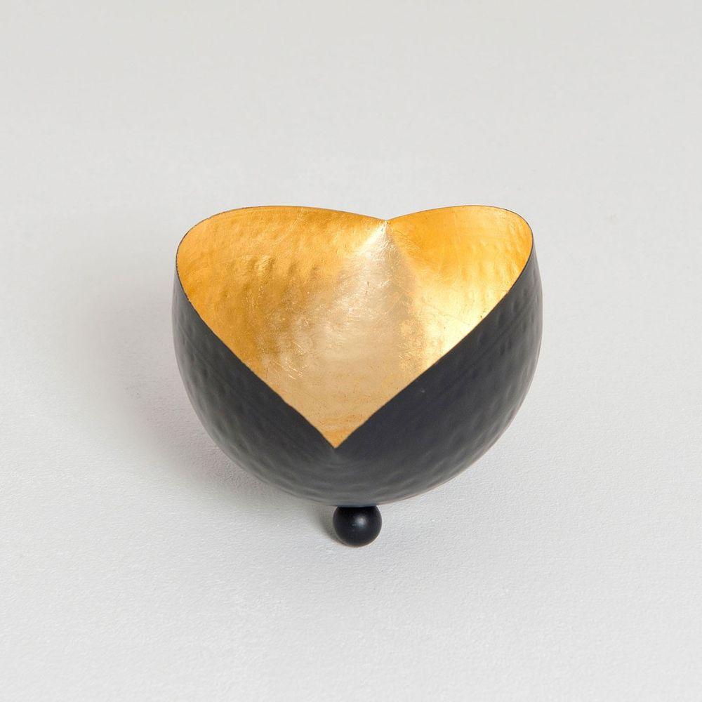 Holländer 375 3502 Windlicht Delta L Metall Schwarz-Gold