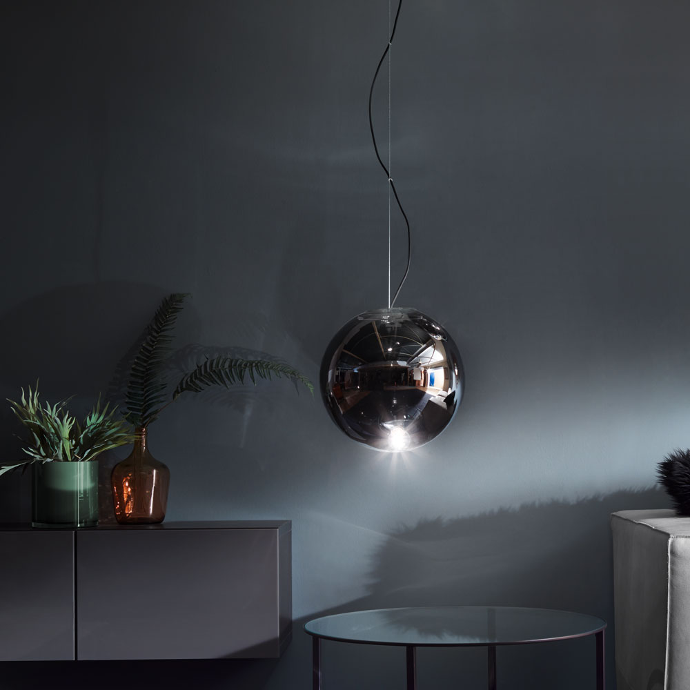 s luce sphere 40 rauchige pendelleuchte in grau pendellampe glaslampe glaskugel kaufen bei. Black Bedroom Furniture Sets. Home Design Ideas