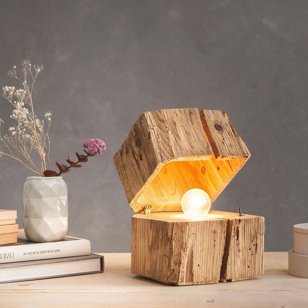 almleuchten b1 massive blockleuchte aus altholz braun tischlampe aus holz kaufen bei licht. Black Bedroom Furniture Sets. Home Design Ideas