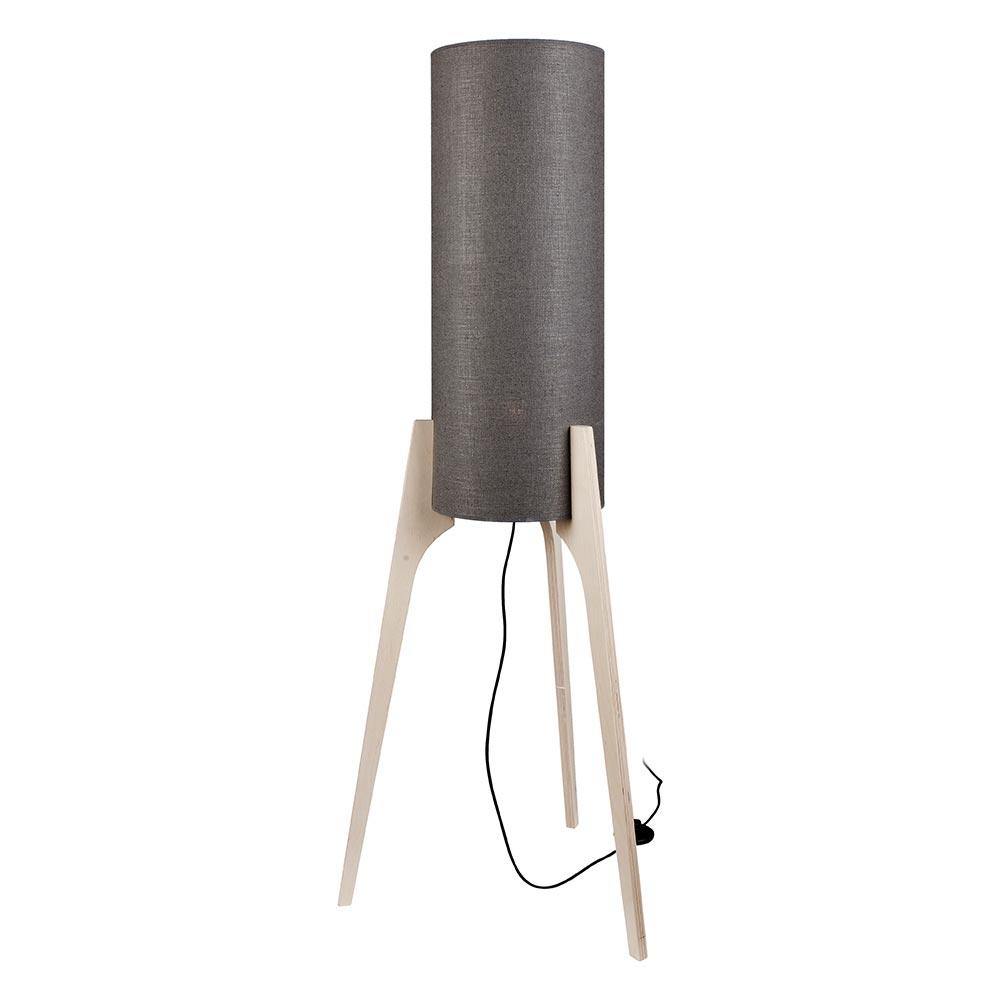 Licht Trend Dreibein Stehlampe Neo 131cm Holz Grau Stehleuchte