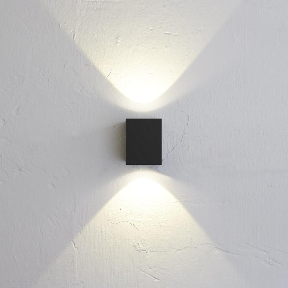Nordlux canto kubi led aussen wandleuchte up down schwarz lt kaufen bei licht design - Aussen wandlampe ...