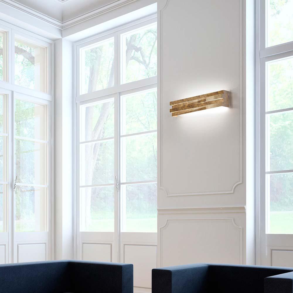 Blickfang Designer Wandleuchten Foto Von Panzeri Cross Led-wandlampe 60cm 4680lm Blattgold Wandleuchte