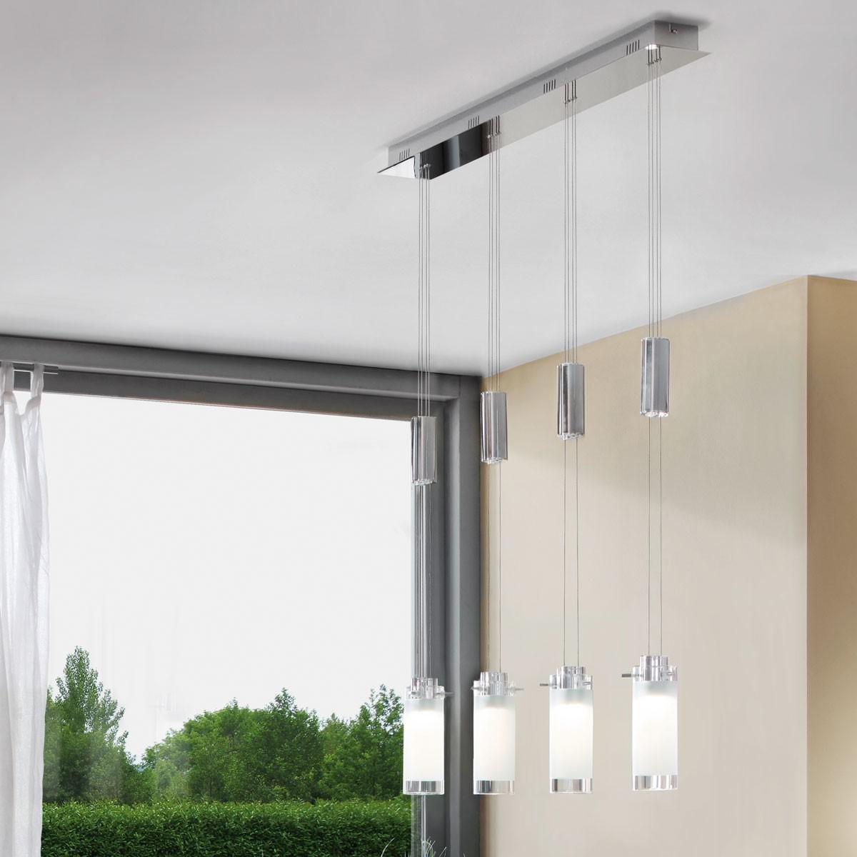 eglo 91546 aggius led h ngeleuchte 4 flammig weiss klar chrom kaufen bei licht design. Black Bedroom Furniture Sets. Home Design Ideas