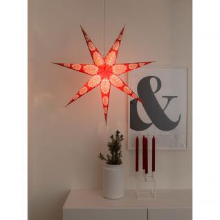 Konstsmide 2920-520 Roter Papierstern, perforiert und mit weiß bedrucktem Muster, 7 Zacken, inkl. Anschlusskabel mit an/aus Schalter, ohne Leuchtmittel, E14 Lampenhalterung für Innenbereich
