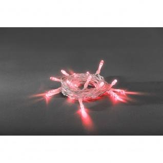LED Lichterkette Timer 10 rote Dioden batteriebetrieben für Innen