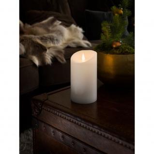 LED Echtwachskerze weiß mit 3D Flamme Ø 10cm Höhe: 18cm Timer Warmweiße Dioden batteriebetrieben für Innen