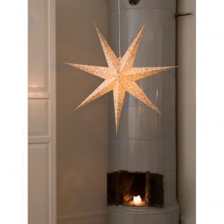 Konstsmide 2912-280 Weißer Papierstern, perforiert und mit gold bedruckten Schneeflocken, 7 Zacken, inkl. Anschlusskabel mit an/aus Schalter, ohne Leuchtmittel, E14 Lampenhalterung für Innenbereich