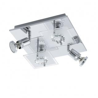 Eglo 94529 Balerna LED Wand & Deckenleuchte 4 x 3 W Stahl Chrom Glas satiniert Kristall Wei