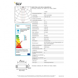 SLV 113961 New Tria LED 3W DL Square Set Downlight Weiss-Matt 38° 3000K inkl. Treiber Clipfed. - Vorschau 3