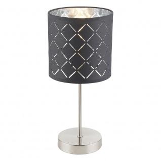 Tischleuchte Kidal Schirm mit Dekorstanzungen Kabel 1, 5 m Nickel-Matt, Grau, Silber-Metallic