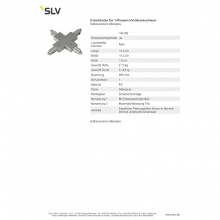 SLV X-Verbinder für 1-Phasen HV-Stromschiene Aufbauversion silbergrau 143162 - Vorschau 2