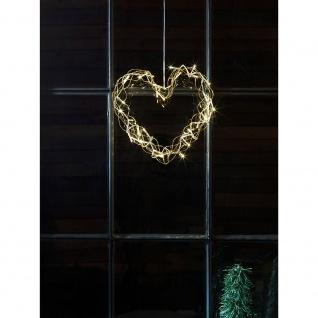LED Metallsilhouette Herz goldfarben 32 Warmweiße Dioden 24V Innentrafo