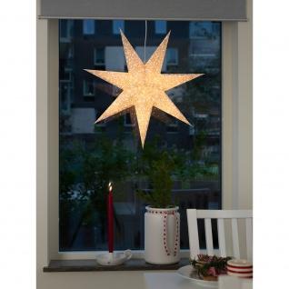 Konstsmide 2911-280 Weißer Papierstern, perforiert und mit gold bedruckten Schneeflocken, 7 Zacken, inkl. Anschlusskabel mit an/aus Schalter, ohne Leuchtmittel, E14 Lampenhalterung für Innenbereich