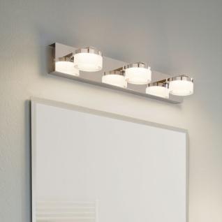 Puck LED Bad Spiegelleuchte mit 3 satinieren Köpfen Chrom Wandlampe spritzwassergeschützt