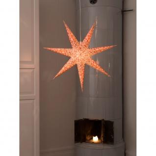 Konstsmide 2912-520 Roter Papierstern, perforiert und mit weiß bedruckten Schneeflocken, 7 Zacken, inkl. Anschlusskabel mit an/aus Schalter, ohne Leuchtmittel, E14 Lampenhalterung für Innenbereich