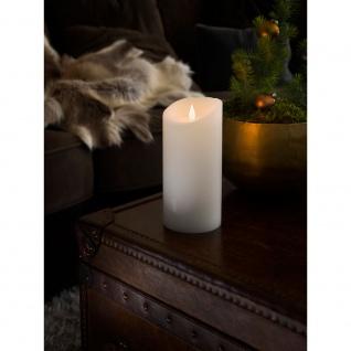 LED Echtwachskerze weiß mit 3D Flamme Ø 10cm Höhe: 21, 5cm Timer Warmweiße Dioden batteriebetrieben für Innen