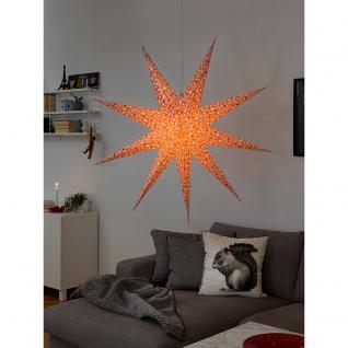 Konstsmide 2913-520 Roter Papierstern, perforiert und mit weiß bedruckten Schneeflocken, 9 Zacken, inkl. Anschlusskabel mit an/aus Schalter, ohne Leuchtmittel, E14 Lampenhalterung für Innenbereich