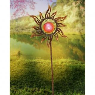 LED Solar-Spießleuchte Sonne 123cm Rostfarben Gartenlampe Gartenleuchte