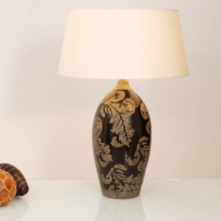 Holländer 057 K 1216 Tischleuchte Toulouse Keramik Glasiert Schwarz-Schlamm