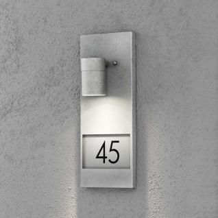 Konstsmide 7655-320 Modena Aussen-Wandleuchte mit Hausnummern verzinkt galvanisierter Stahl klares Glas Reflektor